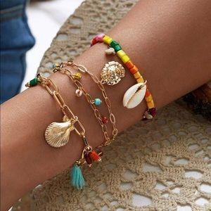 🆕 3 Pc Bead Shell + Tassel Bracelet Set